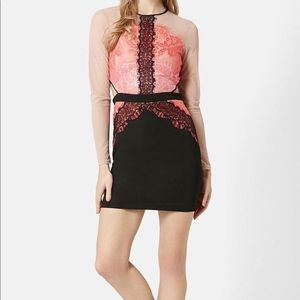 Topshop Lace Overlay Illusion Dress Black and Pink